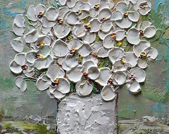 White Bouquet Ceramic Vase Original Oil Painting on Canvas , gray, green, blue