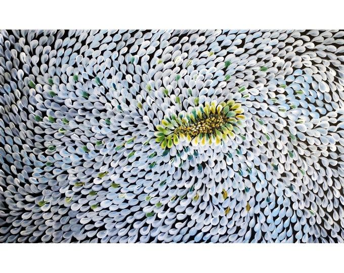 Blue White Gray PETALS 60x36 Large White Whimsical Artwork Ready to ShipArt by Luiza Vizoli
