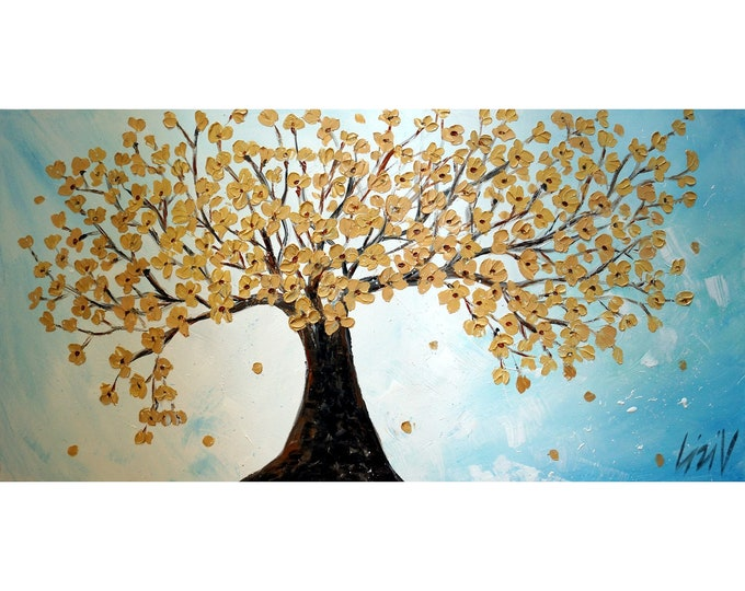 Gold White Blue 60x36  Cherry Tree Large Canvas Art by Luiza Vizoli