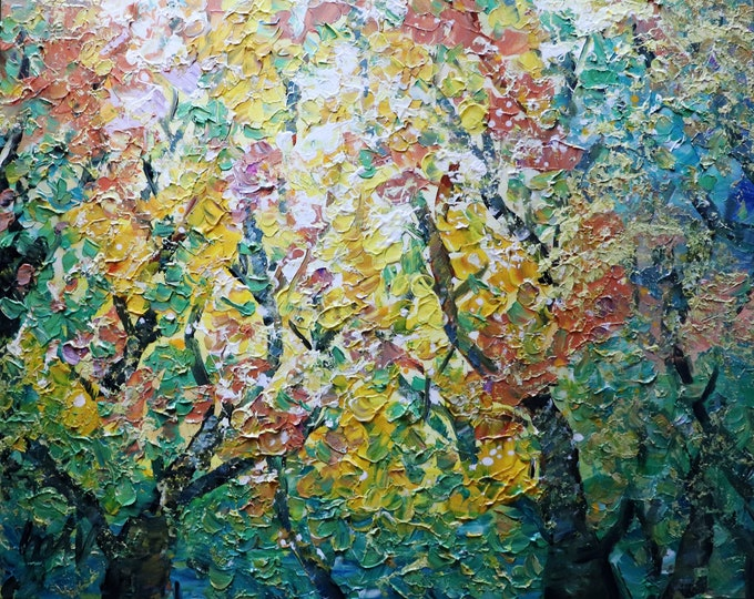 Oil Painting Variation Fall Foliage Autumn Colors Maple Trees Abstract Landscape Ready to Ship
