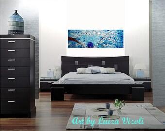 Original Painting Blue Love Birds Whimsical Spring Cherry Tree Painting by Luiza Vizoli Custom