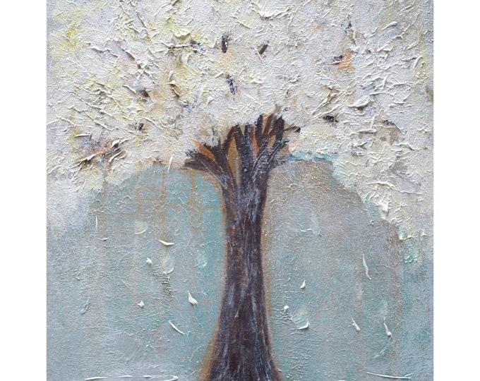 WHITE CHERRY BLOSSOM Original Painting Textured Modern Art by Luiza Vizoli