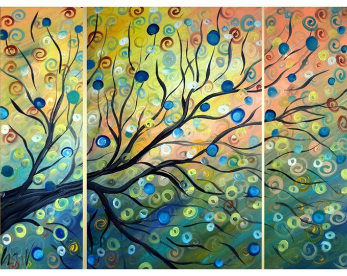 Original Abstract Tree Landscape Triptych Large Painting 48x36 MOMENTS of TRANQUILITY  by Luiza Vizoli