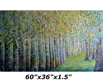 XXL Extra Large 60x36 Original Painting SPRING FOREST Birch Trees Light Shining Handmade Impasto Art on Gallery Canvas ready to ship
