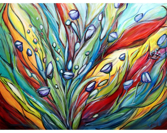 RAINBOW Tropical Leaves and Flowers Original Painting Unique Colorful Whimsical Painting on Canvas ready to ship