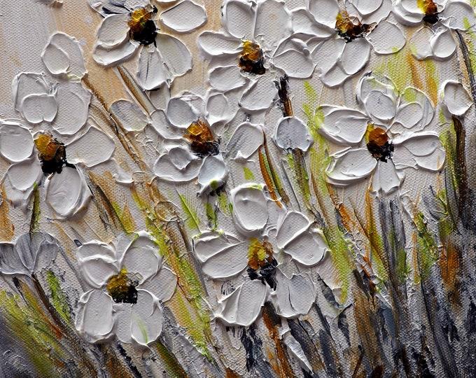 White Wildflowers Sunny Day Original Painting Floral Art by Luiza Vizoli Small Canvas White Cream Gray Green