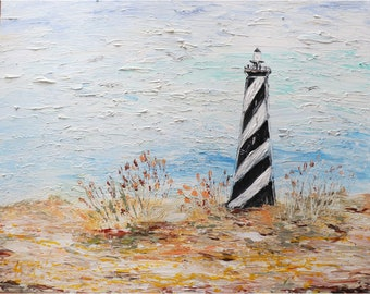 Lighthouse Ocean Sand Beach Dunes Seagulls Coastal Seascape Original Impasto Painting by Luiza Vizoli, ready to ship
