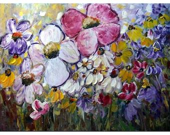 SUMMER FIELDS of Flowers Garden Wild Floral Bloom Meadow Large 40x30 Canvas by Luiza Vizoli