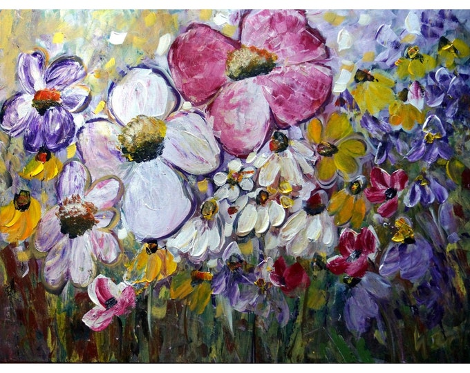 SUMMER FIELDS of Flowers Garden Wild Floral Bloom Meadow Large 40x30 Canvas by Luiza Vizoli