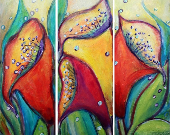 Calla Lilies Red Yellow Abstract Flowers Oil Painting Original Handmade Art y Luiza Vizoli 30x30