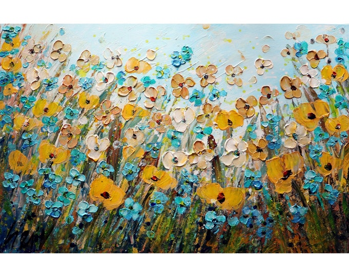 Spring Flowers Forget Me Not in Bloom Springtime Yellow Blue Wildflowers ORIGINAL Oil Painting Art by Luiza Vizoli