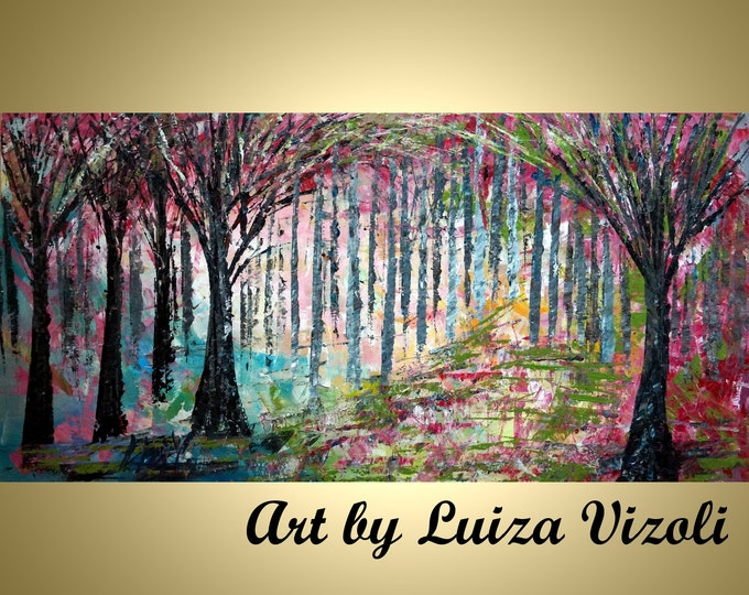 PINK SPRING GREEN Trees Forest Original Painting Abstract Landscape Large Oil Painting