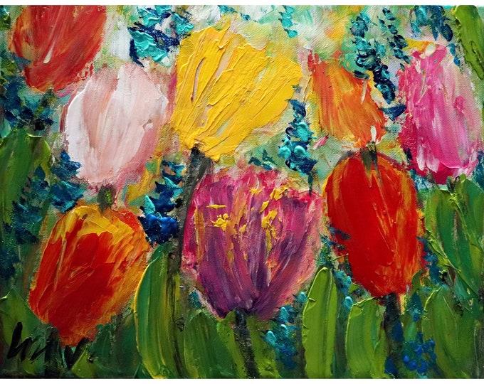 A Glorious Spring Day Tulips Impasto Oil Painting Original Handmade Art by Luiza Vizoli