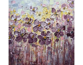 Daisy Flowers Dusty Purple Lavender Floral Original Painting in gentle shades of pastels