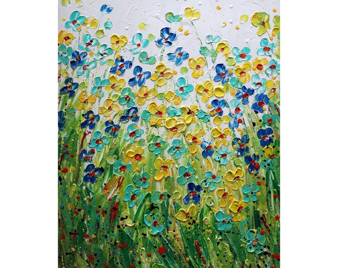 Colors of Summer Flowers Nature Flower Meadow Original Oil Painting on Canvas Blue, Yellow, Green, Orange, White