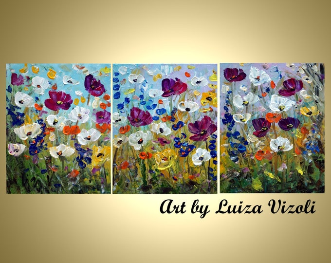 Abstract Daisy Flowers Original Oil Painting Large Artwork Modern Impressionist Oil Triptych Art  by Luiza Vizoli