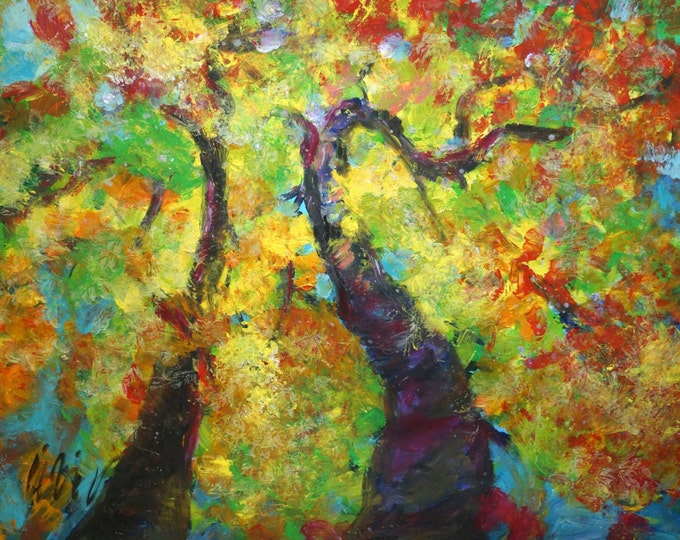 Aspen Trees Original Abstract Landscape STAND TALL Oil SUNRISE Large Painting Canvas  yellow,blue,green,grey, rust Art by Luiza Vizoli
