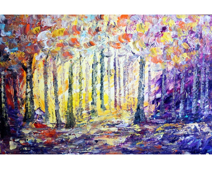 LIGHTS and SHADOWS in variations of violet, purple, yellow, orange, gray, blues  Oil Landscape Trees Painting