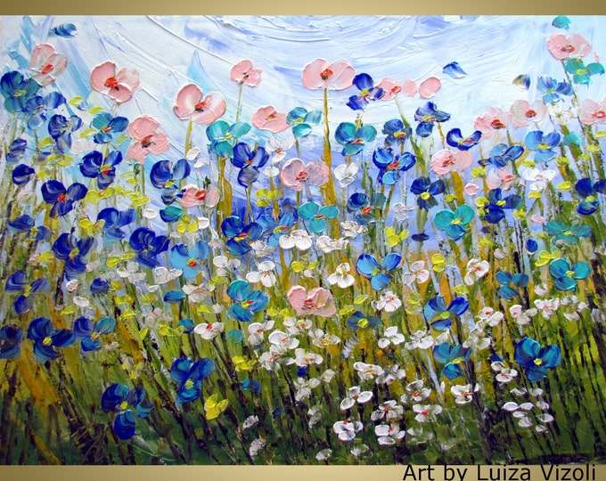 XXL Oil Painting WILDFLOWERS Large Canvas Original Palette Knife Impasto Oil Painting Flowers Fine Art by Luiza Vizoli