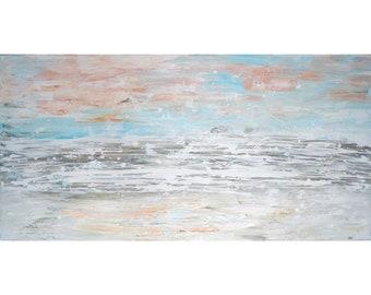 SEA Ocean Seashore Gray Blue Cream Soft Waves With Foam Of Ocean On The Sandy Beach Original Painting
