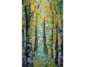 Spring Path freshly made Original Oil Painting shades of green blues gray yellow