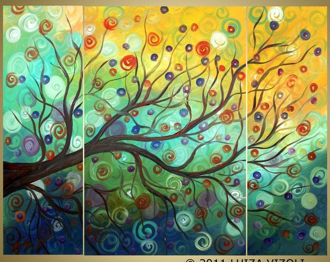 Summer Tree ORIGINAL  Large Painting Fantasy Tree Landscape Oil Artwork 48x36 by Luiza Vizoli