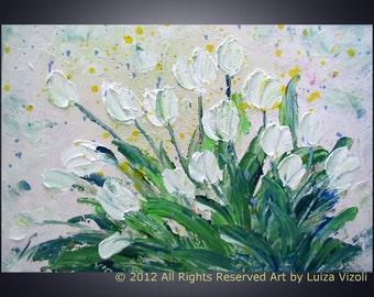 WHITE TULIPS BOUQUET Original Modern Impressionist Flowers Impasto Painting by Luiza Vizoli
