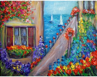 Italy Water Flowers Old Buildings Original Impasto Oil Painting on Canvas Textured Artwork on Canvas by Luiza Vizoli