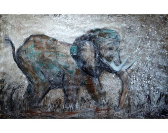 Large Elephant Painting 60x36 Vintage Sepia Brown Aqua Blue Gray Colors Textured Impasto Art by Luiza Vizoli