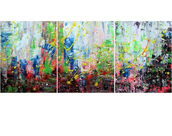 Abstract City at NIGHT Multicolored  ORIGINAL painting Triptych Set of 3 large canvas Art by Luiza Vizoli