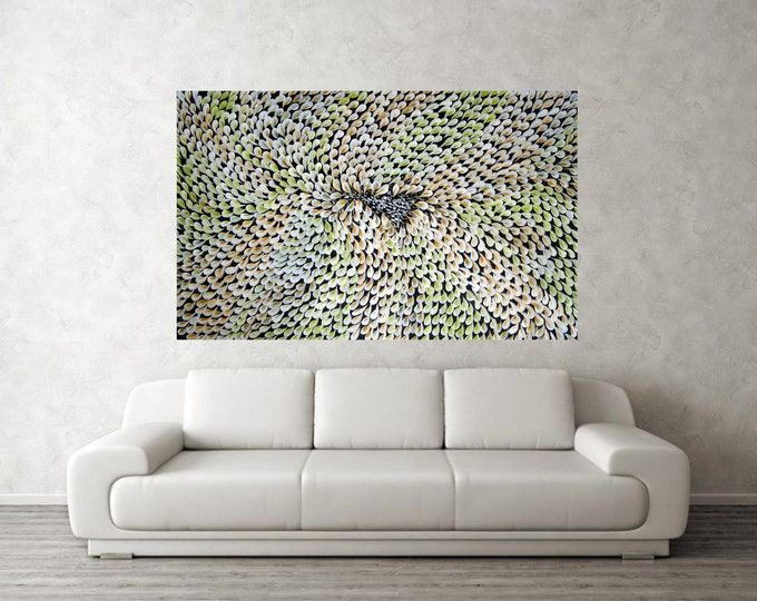Abstract Flower PETALS 60x36 Large White Green Cream Ivory Artwork Ready to Ship canvas
