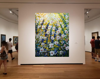 Meadow Flowers 36x60 Extra Large Painting Yellow Blue White Green Floral Modern Artwork on Canvas Ready to Hang