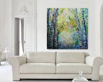 Birch Trees in Spring Painting by Luiza Vizoli Impasto Large Landscape Colorful Artwork