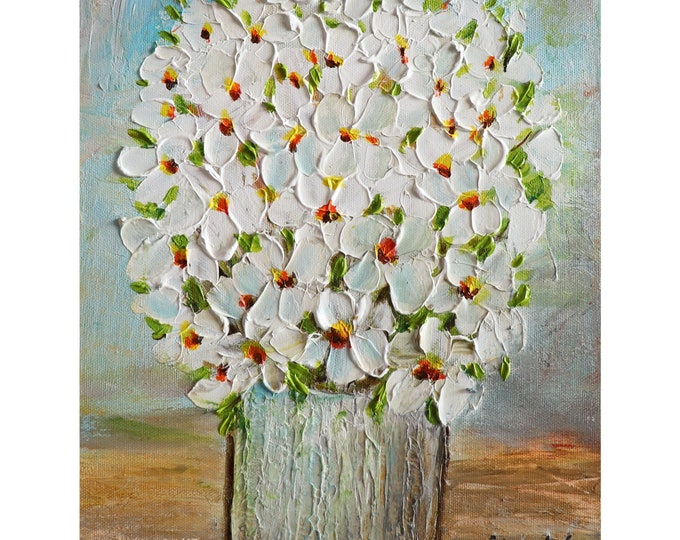 White Cream Flowers Bouquet Vintage Vase Original Painting shabby chic elements and a soft subdue color palette