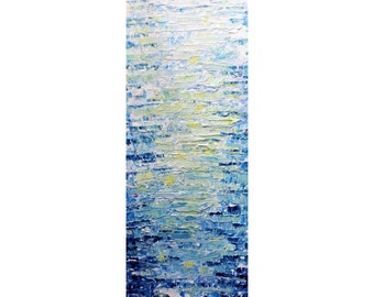 BLUE WATER Tall vertical wall art ORIGINAL Painting canvas abstract, Long Narrow wall decor for staircase, bathroom, kitchen, entryway