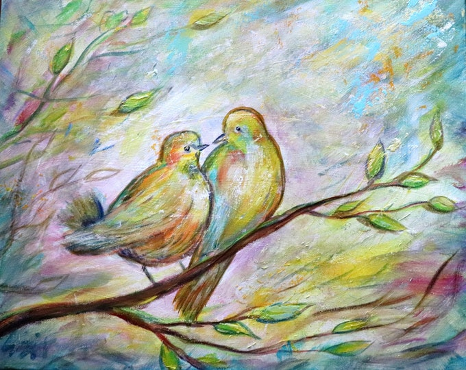BIRDS Painting Mother and Baby Bird Original Art Whimsical Colorful Spring Summer Artwork on Canvas by Luiza Vizoli