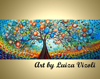TREE of LIFE  Original Large Painting Whimsical Landscape Made to Order other sizes available
