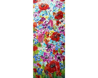 Spring Country Flowers Vivid Blossom Tall Vertical Narrow Painting Original Oil Impasto on Canvas ready to hang, ready to ship