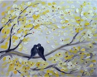 THE KISS White Yellow Gray Original Painting Love Birds Canvas Art by Luiza Vizoli