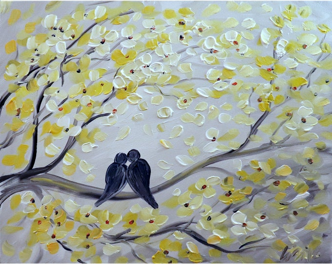 THE KISS White Yellow Gray Original Painting Love Birds Canvas Art by Luiza Vizoli
