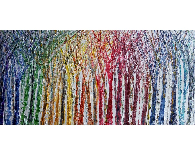 Abstract Seasons Painting Rainbow Colorful Trees on White Large Canvas ready to ship