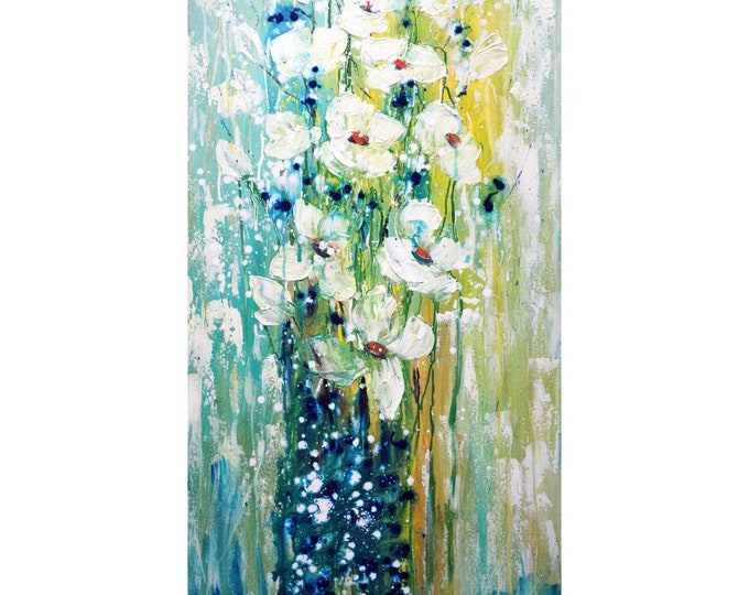 White FLOWERS  An Elegant Bouquet Blue Colors Original Palette Impasto Oil Painting by Luiza Vizoli 48x24