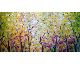 SOFT SPRING BREEZE Abstract Modern Art Textured  Leaves,Flowers,Shapes by Luiza Vizoli
