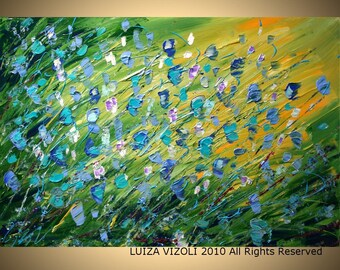 Blue Flowers Green Fields Original Modern Abstract Palette Knife Impasto Flowers Large Painting by Luiza Vizoli