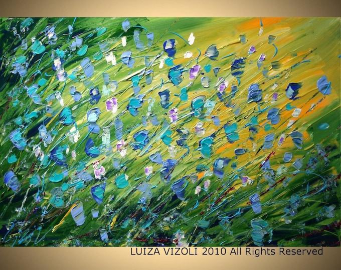 Blue Flowers Green Fields Original Modern Abstract Palette Knife Impasto Flowers Large Painting by Luiza Vizoli