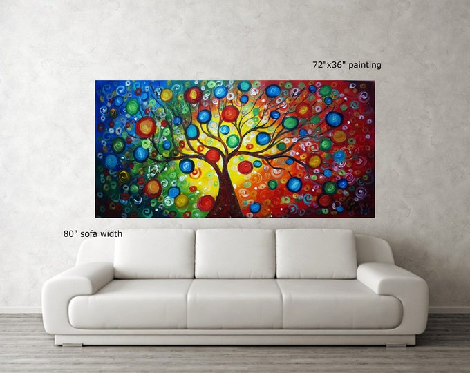 72x36  XXL HUGE Painting Seasons of Joy Extra Large Canvas Ready to Hang Landscape Colorful Tree of Life