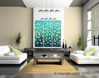Original Modern Abstract Flowers Palette Knife Impasto Oil Painting SPRING TULIPS multi panel artwork by Luiza Vizoli