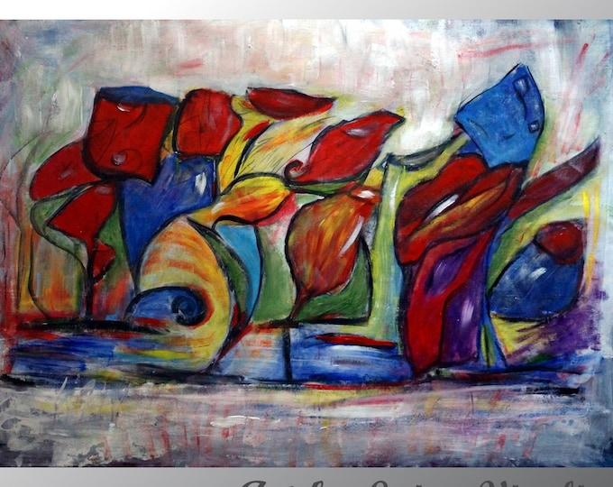 NECTAR, GLASSES and FLOWERS Abstract Large Original Painting  Canvas Colorful Huge Artwork Oil Impasto Art ready to ship