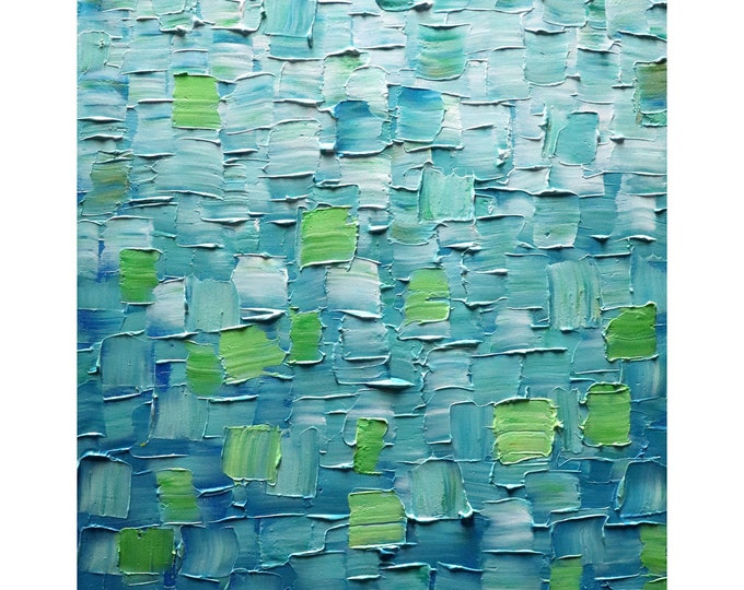 Abstract Blue Painting FRESH WATER Original One of a Kind Artwork ready to ship