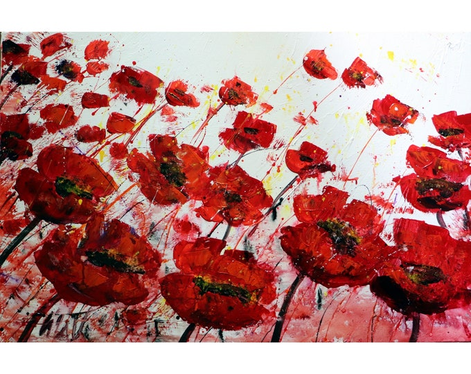 RED Abstract POPPY Flowers WHITE Gray Black Large Canvas Original Painting Art by Luiza Vizoli